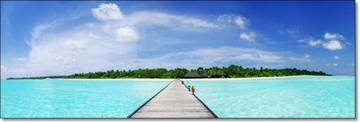 Poze Tablou Panoramic Dig in Paradisul Tropical Maldive st7486