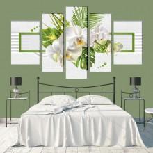 Multicanvas Energie Verde cu Orhidee Alba FFAR16