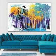 Tablou Canvas Cuplu Indragostiti prin Padurea Abstracta AMG005