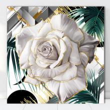 Tablou Canvas Trandafir Alb cu Fundal Tropical ROS50