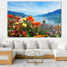Tablou Peisaj Elvetian cu Lac si Munte ST1423