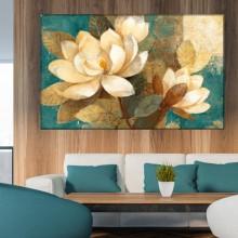 Tablou Canvas Magnolii in Fundal Turcoaz OPO72B