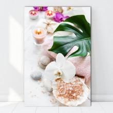 Tablou Canvas Orhidee Alba cu Scoica si Sare de Mare ORST118