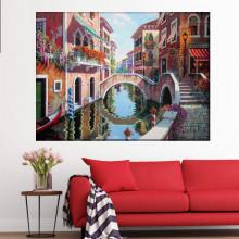 Tablou Canvas Canal cu Flori In Venetia RMDV5