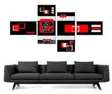Multicanvas rosu cu negru digital art mdigi2