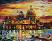 Reproducere Leonid Afremov - Cerul de aur de la Venetia