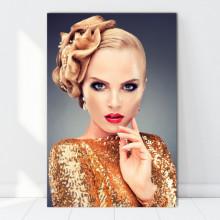 Tablou Canvas Femeie cu Par Blond si Machiaj Profesional PBL33