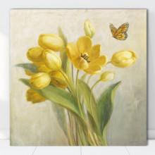 Tablou Canvas Lalele Galbene cu Fluture FAB93
