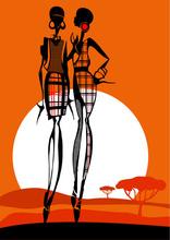 Tablou canvas orange fashion siluete 03