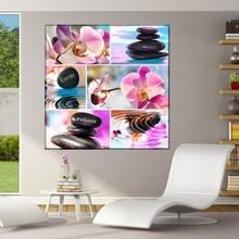 Tablou Colaj Pietre Spa cu Orhidee