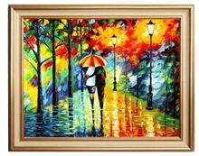 Tablou Cuplu cu umbrela in parc