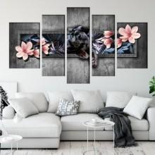Multicanvas Modern, Pantera Neagra cu Magnolii OPOS72