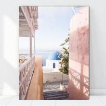 Tablou Canvas Strada cu Scari in Santorini, Grecia GR42