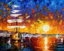 Reproducere Leonid Afremov - Barca in apus