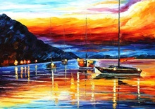 Reproducere Leonid Afremov - Portul Messina