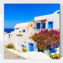 Tablou Canvas Casa Alba cu Flori de Hartie, Creta, Grecia GRTV30