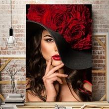 Tablou Femeie cu Palarie Neagra si Trandafiri Rosii fbh76