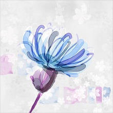 Tablou modern floral blue 02