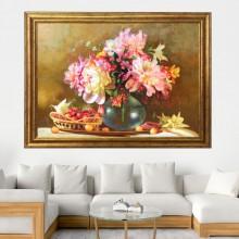 Tablou Vaza cu Bujori, Canvas+Rama OPJ15