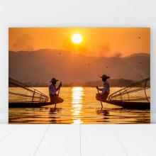 Tablou Canvas 2 Pescari pe Lac la Rasarit BFS24