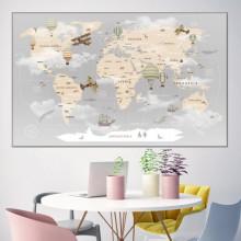 Tablou Canvas Harta Lumii Pentru Copii HCG1