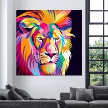 Tablou Canvas Leu Furios, Stilizat, Multicolor ATGR125