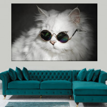 Tablou Canvas Pisica Alba cu Ochelari de Soare CAT70