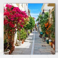 Tablou Canvas Alee cu Flori, Grecia GR32
