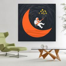 Tablou Canvas Astronaut pe Luna OUSA1