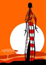 Tablou canvas orange fashion siluete 04