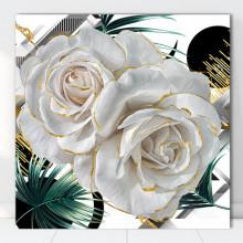 Tablou Canvas Trandafiri Albi cu Fundal Tropical ROS49