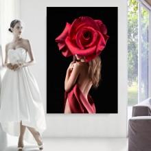 Tablou Femeie Sexy cu Trandafir Rosu FBSM35