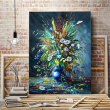 Tablou Canvas Vaza Albastra cu Flori de Camp
