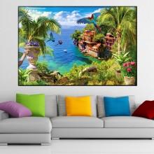 Tablou Canvas Peisaj Tropical cu Papagali TPM26