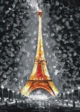 Reproducere Leonid Afremov - Eiffel Tower Paris luminat noaptea