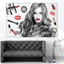Tablou Bucle Fascinante si Produse de Make-up AMG175