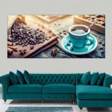 Tablou Canvas Boabe de Cafea cu Ceasca Albastra CMH83