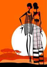 Tablou canvas orange fashion siluete 01