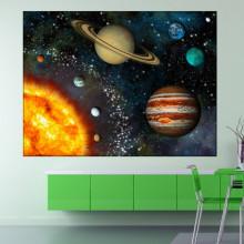 Tablou Canvas Univers cu Soare si Planete OUS4