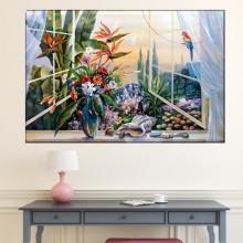 Tablou Canvas Vaza cu Flori la Fereastra DFR26