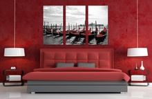 Tablou canvas triptic gondole vedere spre San Giorgio - Venetia