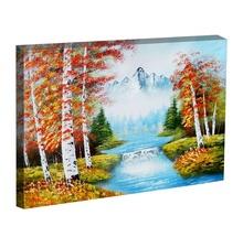 Tablou peisaj munte cu lac in padure de brazi tinr6