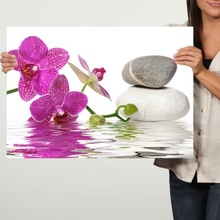 Tablou Orhidee cu Pietre Spa Albe