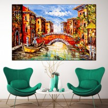 Tablou Canvas Reproducere Gondolier in Venetia IVE49
