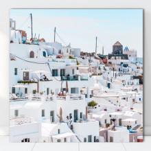 Tablou Canvas Colina cu Case Albe, Grecia GR52