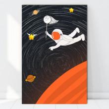 Tablou Canvas Astronaut Ce Zboara dupa Stelute OUSA4