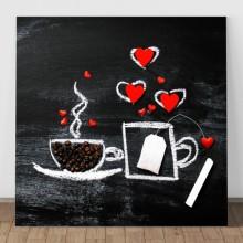 Tablou Canvas Boabe de Cafea cu Inimioare ACOF53