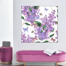 Tablou Canvas Flori de Liliac cu Fluturi FRZ25