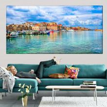 Tablou Canvas Vedere Port Chania, Creta, Grecia GRTV34