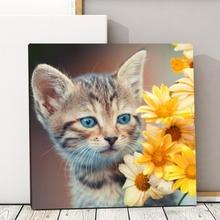 Tablou Canvas Pisicuta cu Flori